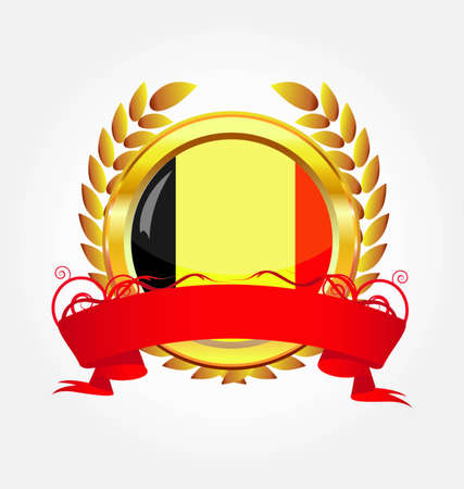 Belgium shiny button flag with golden frame Vector