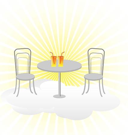 booster: una mesa con dos sillas en el cielo