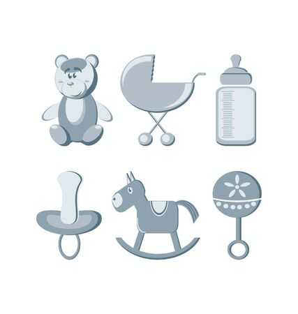 Vector illustration - baby icons set Stock Vector - 9931653