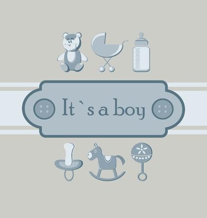 Baby boy arrival announcement card. Vector