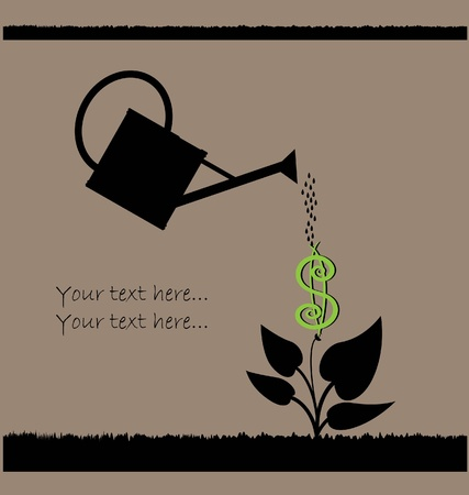 caring: water can  watering plant with dollar