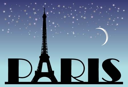 vintage paris: palabra Par�s sobre el fondo de la noche  Foto de archivo