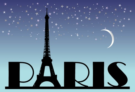 word Paris on the night background  photo