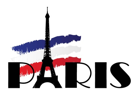 word paris with flag of france  Vector