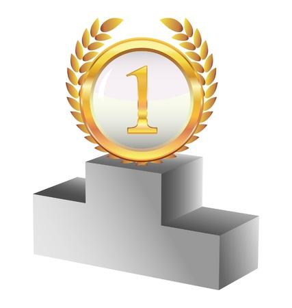 primer lugar: la medalla de oro y un pedestal Vectores