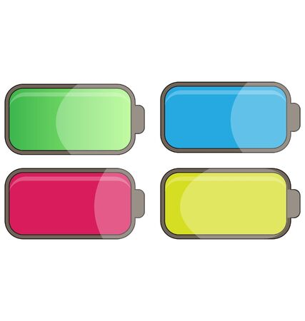 hydride: multicolor glossy batteries Illustration