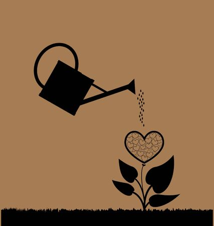 caring hands: water can  watering plant with heart