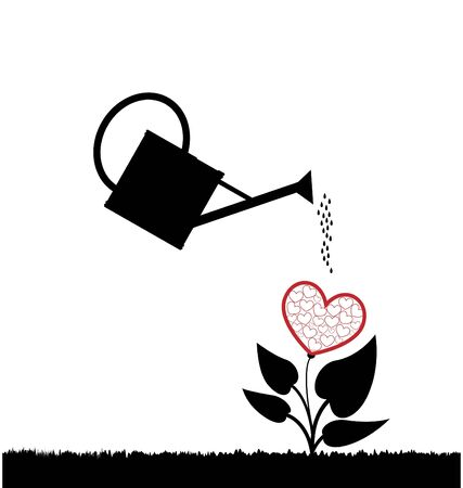 water can  watering plant with heart Stock Photo - 12056723
