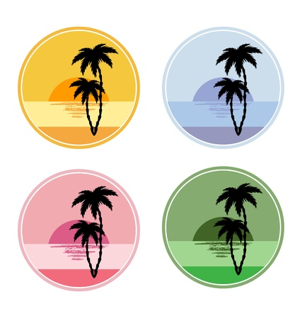 icon with sun and palm trees Stock Vector - 12978685