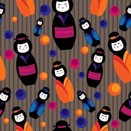 seamless background with kokeshi dolls Vector