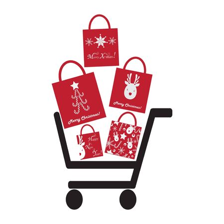 Shoping Crt with Christmas Bags Stock Vector - 17565511