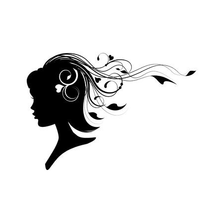 Kopf eines Mädchens mit floralen Haaren isoliert auf weiß