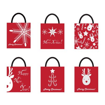 set of Shoping Bags for Christmas Vector