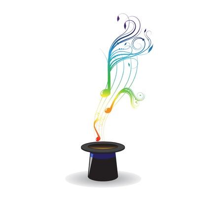 Magic hat and magic music notes Illustration