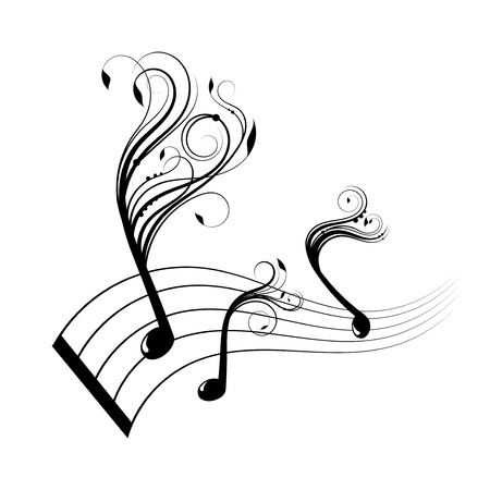 minim music note: Musical notes staff background with design