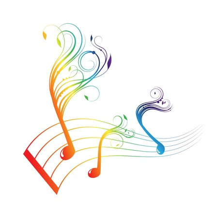 Musical notes staff background with design Stock Vector - 17565494