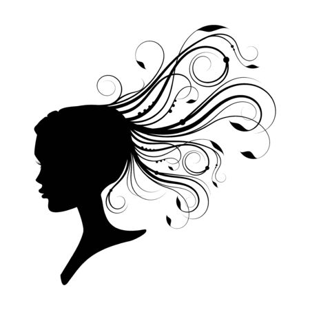 had: women had with curly hair. design element Illustration