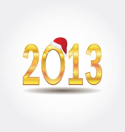 New Year 2013 gold number isolated on white Stock Vector - 17565512