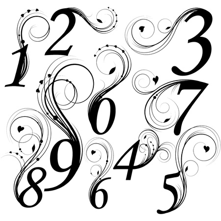 0 9: Floral font. Numbers from 0 till 9