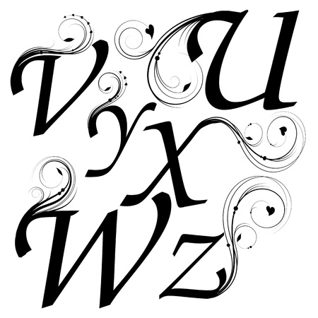 letters from U till Z with floral design Vector