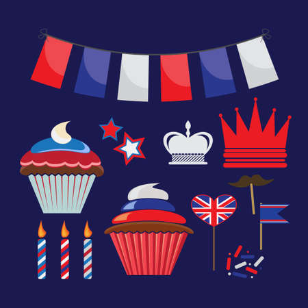 queens jubilee: set of icons for United Kingdom party
