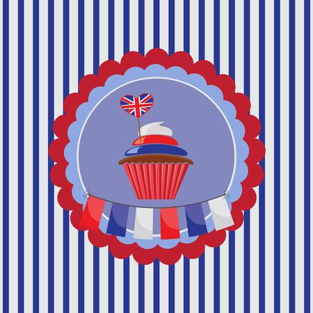 background with cupcake in UK traditional colors Vector
