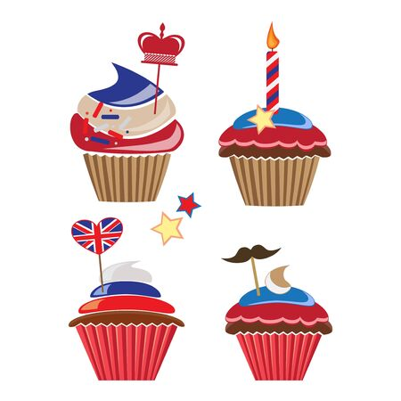 queens jubilee: set of cupcakes for United Kingdom party Illustration