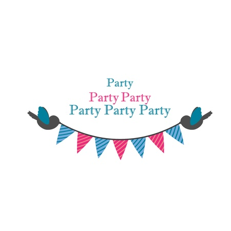 birds holding bunting for party