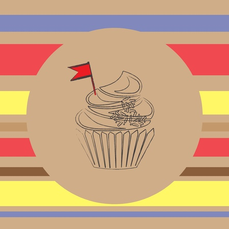 scetch: background with scetch of cupcake
