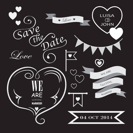 banding: Set of icons for wedding on black background