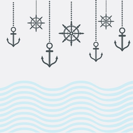 Vintage Design Nautical Template With Anchor 版權商用圖片 - 29237541