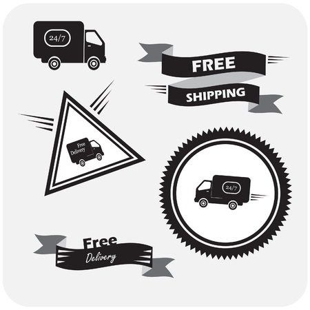 shipments: illustration of icons shipments and free delivery, Illustration