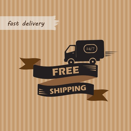 Free shipping illustration on craft background