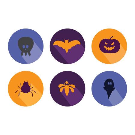 halloween pattern: Halloween flat icons,