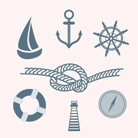 helm boat: Conjunto de iconos náutico aislados. Vectores
