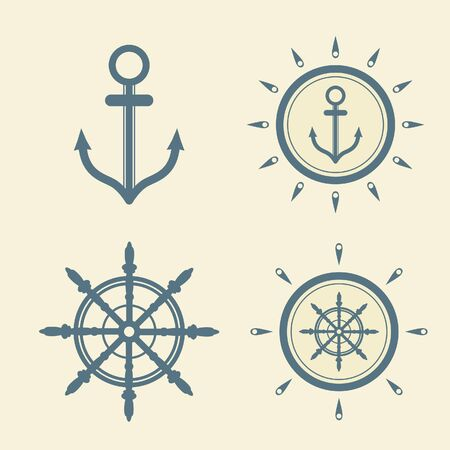 anchorman: Set  of isolated nautical icons.