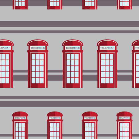 Red telephone box  seamless pattern Vector