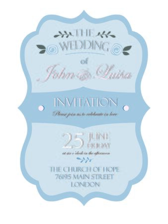 illustrates: wedding invitation card template isolated on white