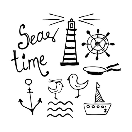 Sea and Boat  Hand-drawn Doodles isolated on white 向量圖像