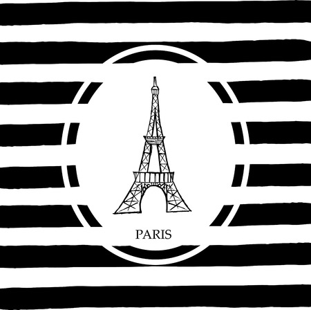 french culture: Eiffel tower in Paris. Free hand sketch with stripes background