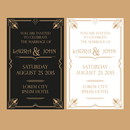 invitation card: Save the Date - Wedding Invitation Card - Art Deco Vintage Style Illustration