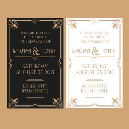 Save the Date - Wedding Invitation Card - Art Deco Vintage Style Stock Illustratie