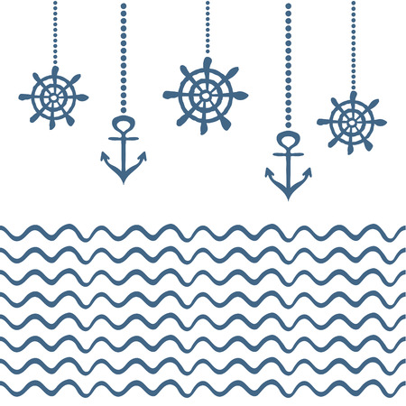 mariner: Blue and white nautical template with anchor and wheel