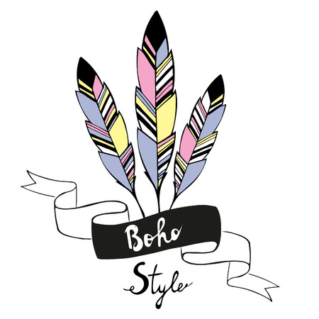 redskin: Hand drawn bird feathers with ribbon in boho style. Vector illustration