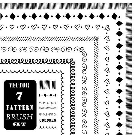 Hand drawn decorative vector pattern brushes. Ink illustration