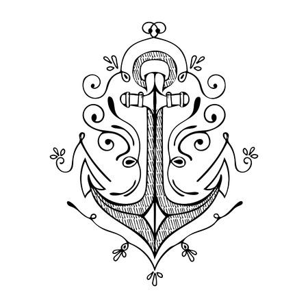 anchor: Vintage Hand Drawn Flourish Anchor. Vector illustration