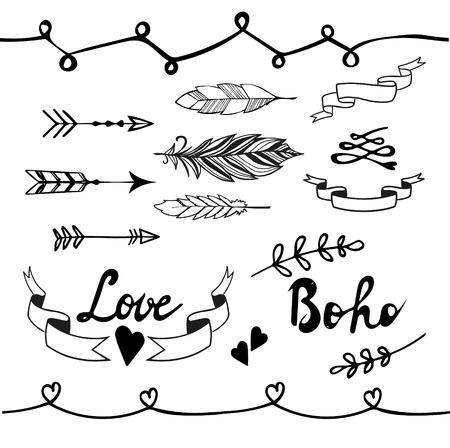 Collection of boho doodle design elements. Hand drawn vector illustration. Illustration