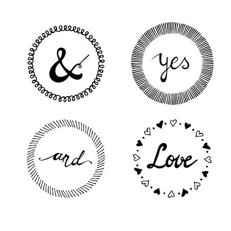 hacer: Conjunto de elementos de diseño tipográfico de la vendimia de la invitación de la boda. Letras de la mano