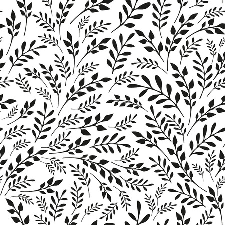 swill: Seamless floral black and white background. Hand drawn vector illustration Illustration