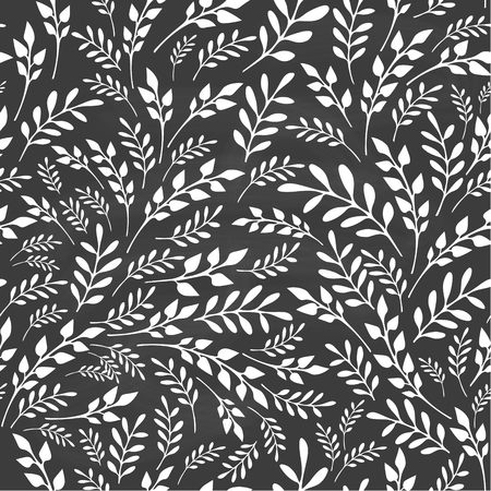 swill: Seamless floral background on blackboard. Hand drawn vector illustration.